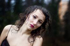 Free Woman S Face Under Rain Royalty Free Stock Photography - 35202317