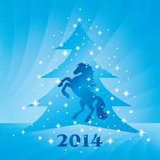 Free Background With Horse Silhouette And Christmas Tree Stock Images - 35203374