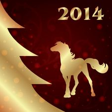 Free Background With Horse Silhouette And Christmas Tree Royalty Free Stock Images - 35203389