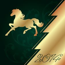 Free Background With Horse Silhouette And Christmas Tree Stock Photography - 35203392