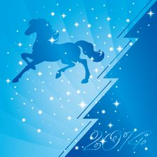 Free Background With Horse Silhouette And Christmas Tree Stock Photos - 35203393