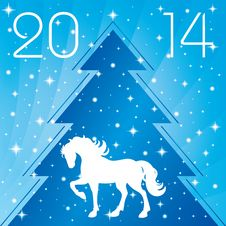 Free Background With Horse Silhouette And Christmas Tree Royalty Free Stock Photography - 35203407
