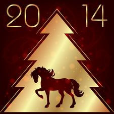 Background With Horse Silhouette And Christmas Tree Stock Photos