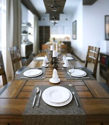 Free Dining Table, Rustic Style Royalty Free Stock Photo - 35206395