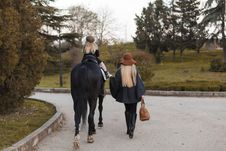 Free Happy Family With Black Horse Stock Photography - 35206462