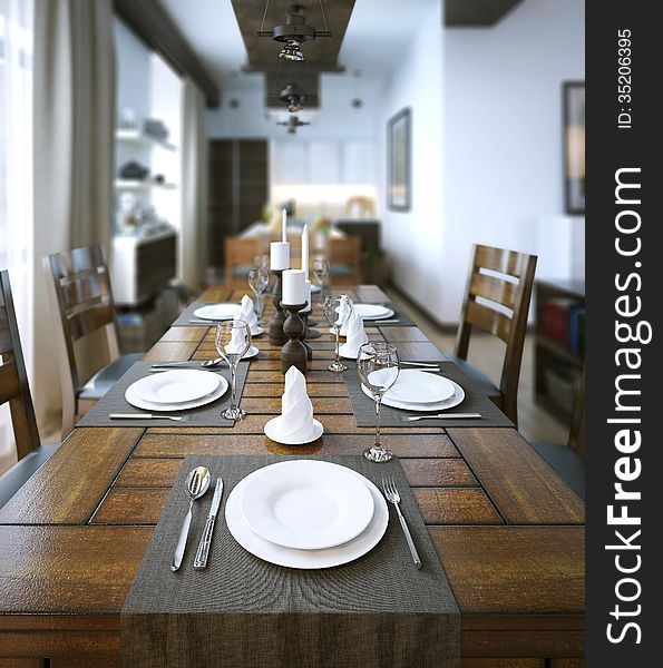 Dining Table Rustic Style Free Stock Images Photos 35206395 Stockfreeimages Com