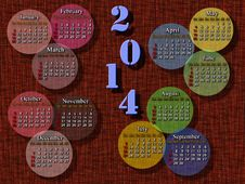 Calendar For 2014 Year With Multicolor Rounds