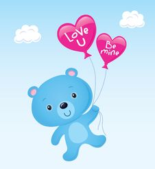 Cute Blue Valentine S Bear Stock Images