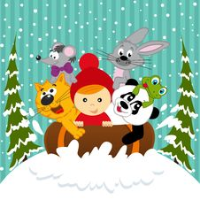 Free Boy And Animals Together Sledging Royalty Free Stock Images - 35213209