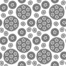 Free Seamless Circular Floral Pattern Grayscale Royalty Free Stock Photos - 35213958