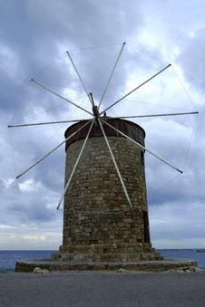 Free Windmills, Rhodes Royalty Free Stock Photography - 35214247