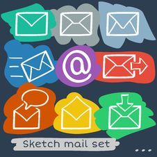 Free Mail Sketch Set Stock Image - 35219281