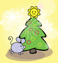 Free Funny Mouse And Christmas Tree Royalty Free Stock Photo - 35228105