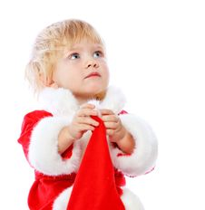Free Little Girl Dressed In Santa Claus Stock Image - 35222501