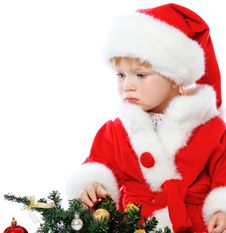 Free Little Girl Dressed In Santa Claus Stock Photos - 35222533