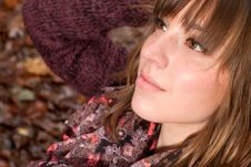Beauty Girl Face In The Autumn Royalty Free Stock Photo