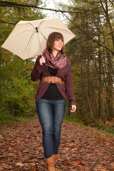Girl Is Enjoying The View With An Umbrella Stock Photography