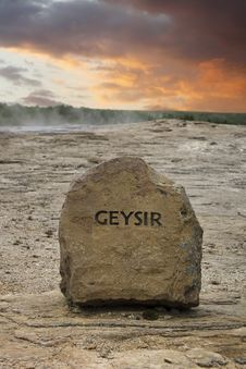 Free Geyser Sign Iceland Stock Photography - 35228432