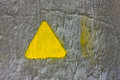 Free Concrete Gray Wall With Yellow Triangle Stock Image - 35231491