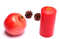 Free Christmas Composition With Red Candle And Pomegranate Stock Image - 35236871