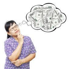 Free Asian Senior Woman Thinking To Money Royalty Free Stock Photography - 35231497