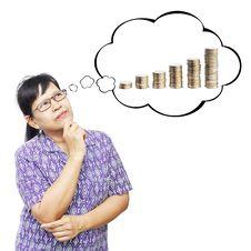 Free Asian Senior Woman Thinking To Money Stock Image - 35233111
