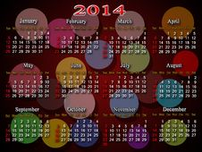Calendar For 2014 Year With Multicolor Rounds Stock Images
