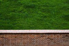 Free Brick Wall And Lawn Stock Image - 35234621