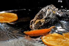 Slice Of Orange In Water Royalty Free Stock Images
