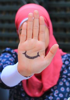 Free The Happy Hand Of The Sad Girl Stock Photography - 35237922