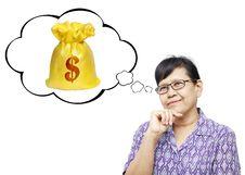 Free Asian Senior Woman Thinking To Money Royalty Free Stock Photos - 35243068