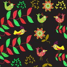 Cute Seamless Pattern With Cartoon Bird And Flower Stock Photos