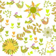 Free Cute Seamless Pattern With Cartoon Bird And Flower Stock Photo - 35245090