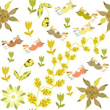 Free Cute Seamless Pattern With Cartoon Bird And Flower Stock Photography - 35245102