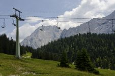 Free Cable Way In The Beautiful Background Off The Alps Stock Image - 35252811