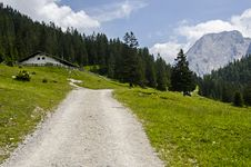 Free Austrians Alps With Blue Sky Beautiful Landscape And House On The Way Stock Photos - 35252963
