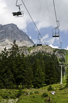 Funicular In The Alps In The Background Of High Peak Mountain Stock Photography