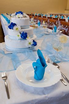 Wedding Table With A Wedding Cake Stock Photos