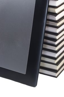 Isolated Tablet Leaning On Books. Stock Photography