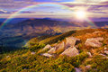 Free Light On Stone Mountain Slope With Forest Stock Images - 35261984