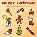 Free Merry Christmas Icons Royalty Free Stock Photo - 35268005