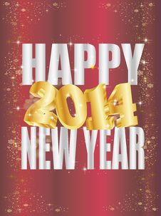 Free Goldene 2014 New Year Royalty Free Stock Photos - 35262978