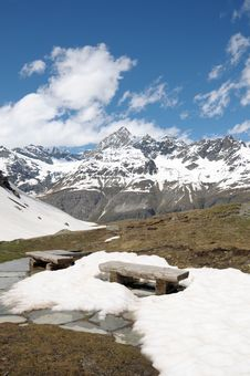 Free Bench On Path Above Schwarzsee Royalty Free Stock Image - 35263396