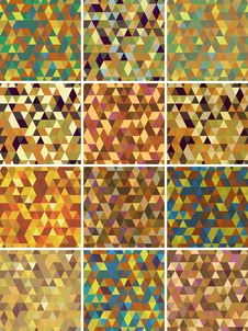 Set Of Geometric Seamless  Pattern. Stock Image
