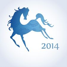 Horse, Decorated With Blue Ornamental Patterns Stock Images