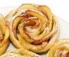 Sweet Rolls With Apples In The Form Of Roses On Plate On White B Royalty Free Stock Photography