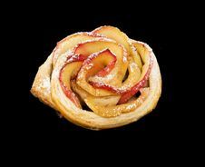 Free Sweet Roll With Apples In The Form Of Roses On Black  Background Stock Image - 35267631