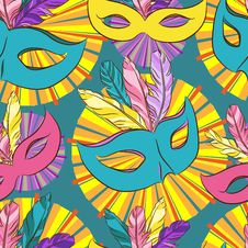 Free Vector Seamless Pattern With Carnival Mask Stock Photo - 35270470