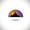 Free Abstract City Skyline Silhouette With Sun-setting Royalty Free Stock Photos - 35286068