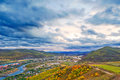 Free Autumn Woods Town River Cloudscape Royalty Free Stock Photo - 35286375
